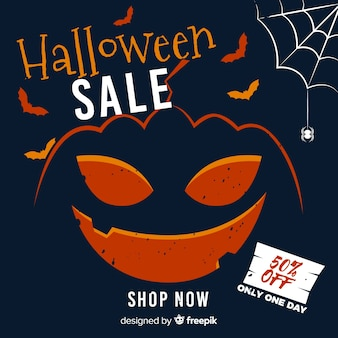 Gebogen pompoen halloween verkoop met spinnenweb