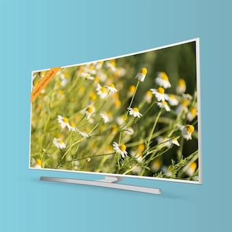 Gebogen slimme uhd tv-serie geïsoleerd op blauwe achtergrond