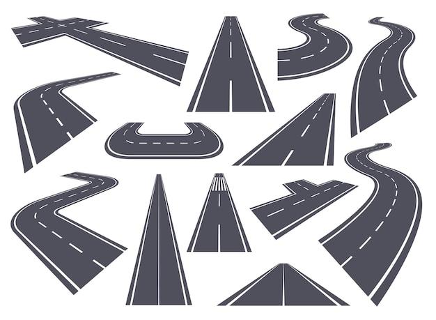 Gebogen wegen perspectief snelweg buigen kronkelende weg recht gebogen pad asfalt stadsstraat