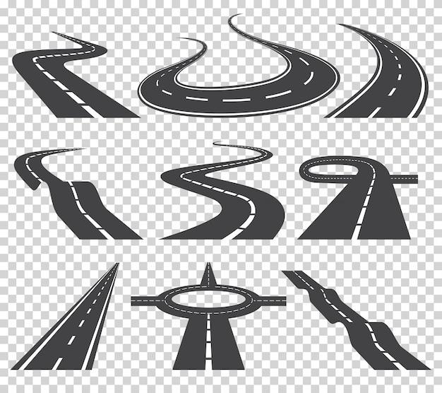 Gebogen wegen vector set. asfaltweg of weg en bocht weg snelweg.