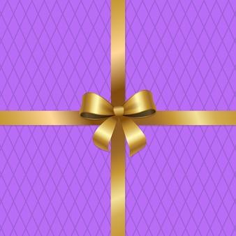 Gebonden gouden strik op gekruiste linten center