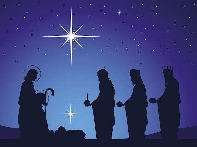 Geboorte, baby jezus in de kribbe met joseph mary en wijze koningen, gloeiende ster aan de hemel
