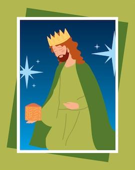 Geboorte balthazar wijs koning karakter wenskaart illustratie