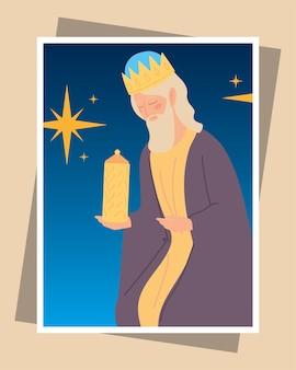 Geboorte caspar wijs koning met cadeau wenskaart illustratie