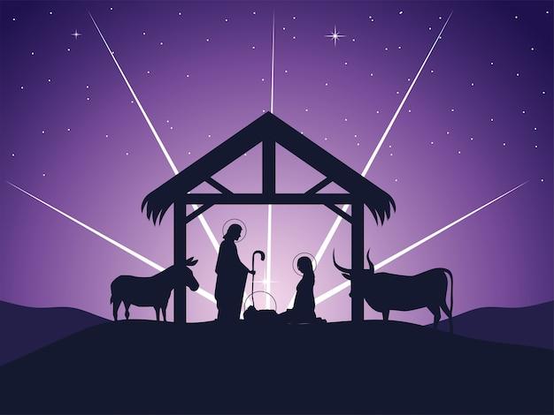 Geboorte, joseph mary baby jesus kribbe en gloeiende ster