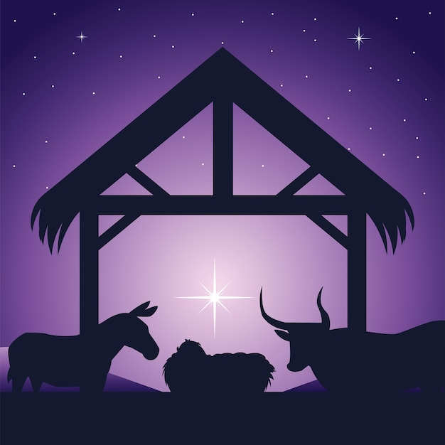 Geboorte, kribbe baby jezus en dieren traditionele religieuze viering, gloed ster achtergrond Premium Vector
