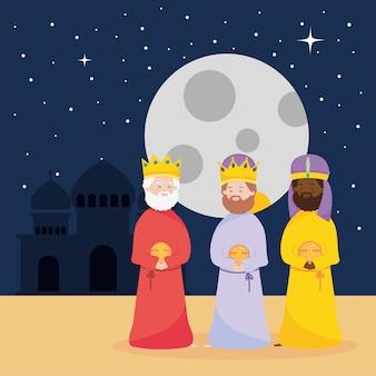 Geboorte, kribbe drie wijze koningen met geschenken in de nacht