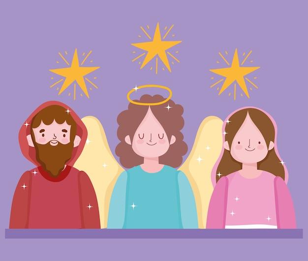 Geboorte, kribbe heilige maria jozef en engel cartoon vectorillustratie
