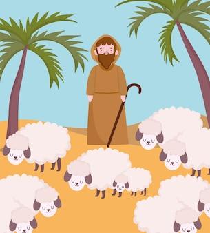 Geboorte, kribbe herder met schapen in woestijn cartoon afbeelding Premium Vector
