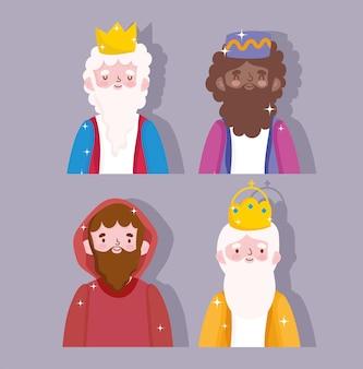Geboorte, kribbe karakters wijze koningen en joseph cartoon