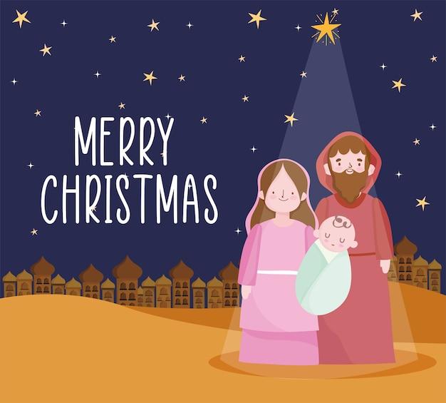 Geboorte, kribbe mary baby jezus en joseph cartoon afbeelding