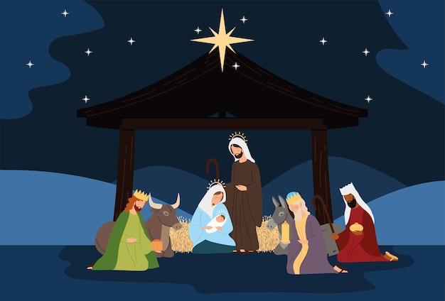 Geboorte, kribbe scène heilige familie wijze koningen os ezel in de nacht