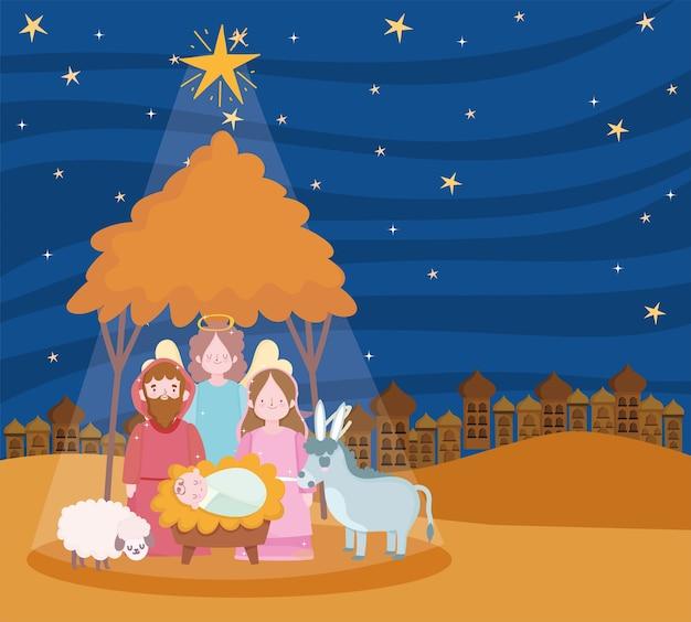 Geboorte, kribbe scène mary joseph baby engel en dieren cartoon afbeelding