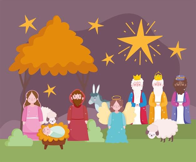 Geboorte, kribbe schattig mary joseph baby jezus drie koningen ezel en lammeren cartoon vector