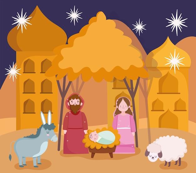 Geboorte, kribbe schattig mary joseph baby jezus en dieren cartoon scène vector illustratie