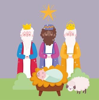 Geboorte, kribbe schattige baby jezus en drie wijze koningen cartoon vectorillustratie