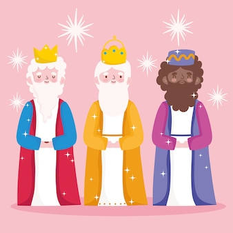 Geboorte, kribbe schattige drie wijze koningen cartoon vectorillustratie