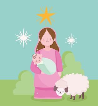 Geboorte, kribbe schattige heilige mary met baby in handen en lam cartoon vectorillustratie