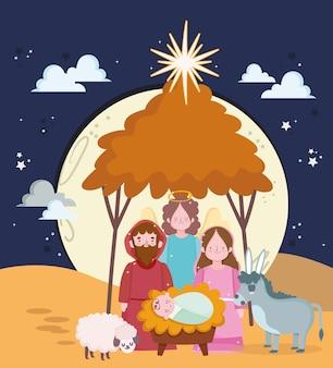 Geboorte, schattige heilige mary baby jezus en joseph kribbe cartoon afbeelding