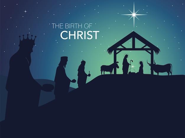 Geboorte, traditionele feestkribbe met heilige familie en drie wijze koningen, geboorte christus