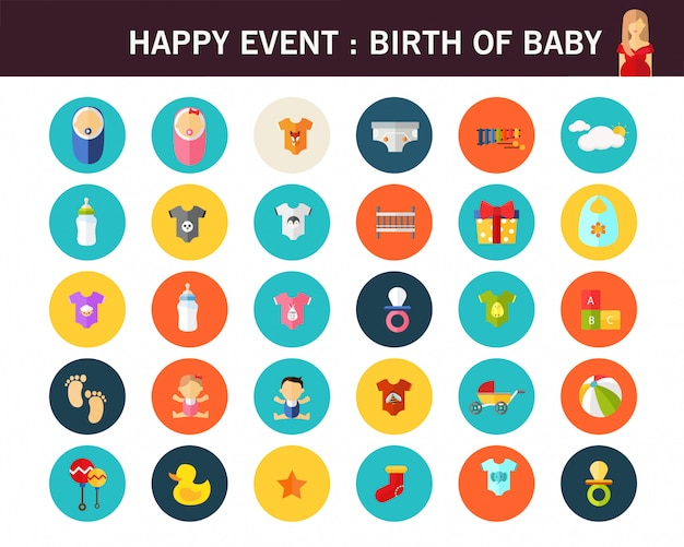Geboorte van baby concept plat pictogrammen.