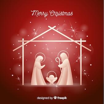 Geboorte van christus glanzend silhouet achtergrond