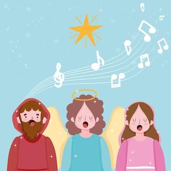 Geboorte van christus, kribbe joseph mary en engel zingen kerstliederen cartoon afbeelding