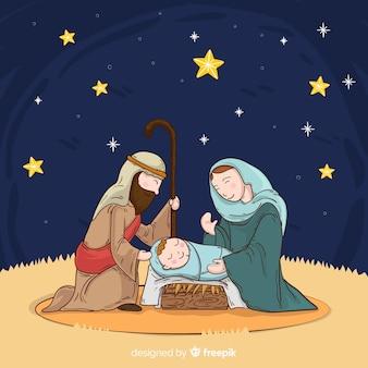 Geboorte van christus nachtscène