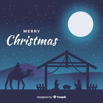 Geboorte van christus silhouetten achtergrond
