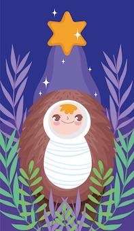 Geboorte van christus van de babyjesus gelukkige vrolijke kerstmis