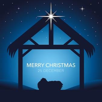 Geboorte, vrolijk kerstkindje jezus in de kribbe