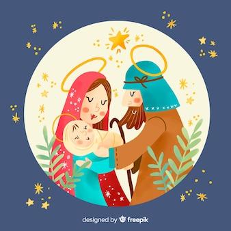 Geboortekerk hand getrokken illustratie