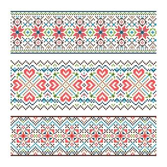 Geborduurd handgemaakte steek oekraïens etnisch patroon.