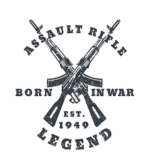 Geboren in oorlog, t-shirtprint met aanvalsgeweren, geweren