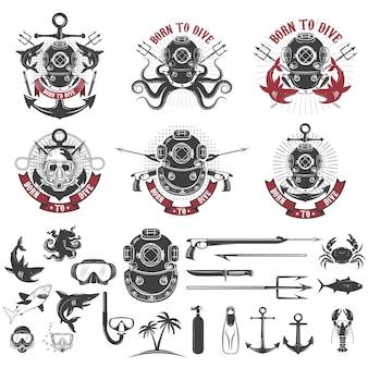 Geboren om te duiken. set vintage duiker helmen, duiker label sjablonen en ontwerpelementen.