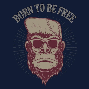 Geboren om vrij te zijn. aapillustratie op grungeachtergrond. ontwerpelement voor poster, t-shirt, embleem, teken.