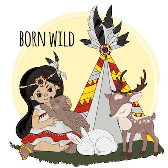 Geboren wilde pocahontas indianenprinses