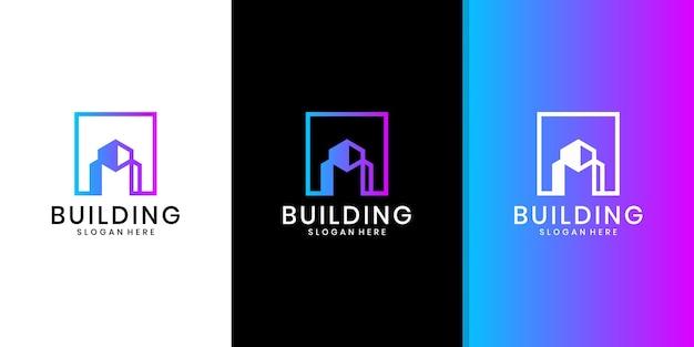 Gebouw architectuurlogo, minimalistisch onroerend goedlogo, luxe gebouwlogo ontwerpsjabloon