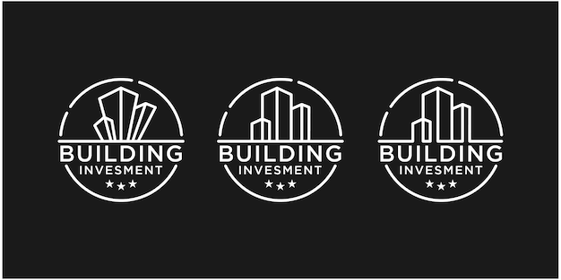 Gebouw constructie bedrijfslogo geometrische lijn logo onroerend goed logo sjabloonontwerp