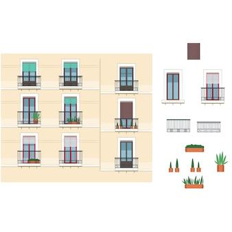 Gebouw gevel franse architectuur
