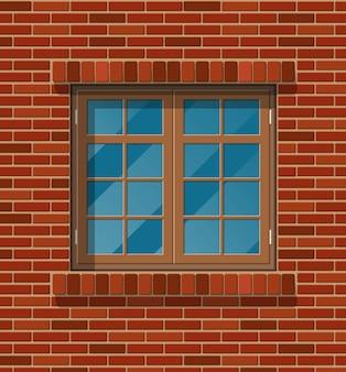 Gebouw gevel. houten klassiek venster in bakstenen muur.