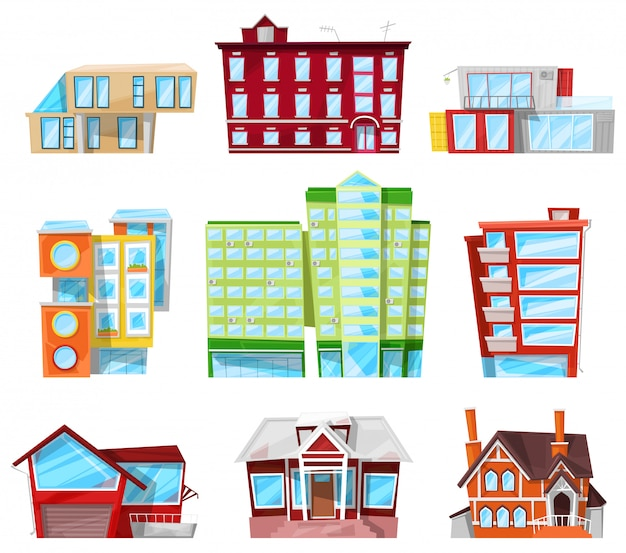 Gebouw gevel van huis in stadsgezicht kantoorgebouw of appartementen architectonische constructie van stadsbank of hotel en zakelijke nieuwbouw set illustratie geïsoleerd op een witte achtergrond