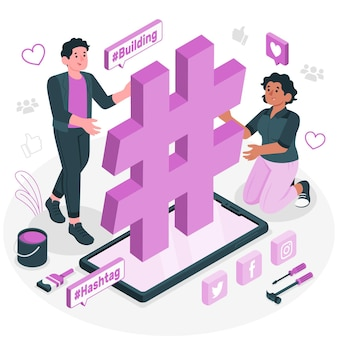Gebouw hashtag concept illustratie