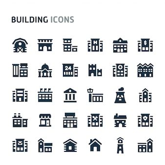 Gebouw icon set. fillio black icon-serie.