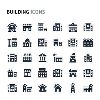 Gebouw icon set. fillio black icon-serie.