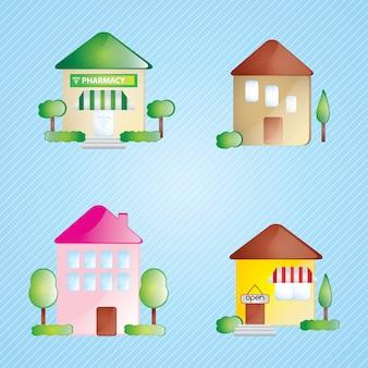Gebouw icons set differents huizen op blauwe achtergrond