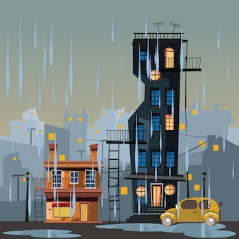 Gebouw in regenachtige dag vectorillustratie