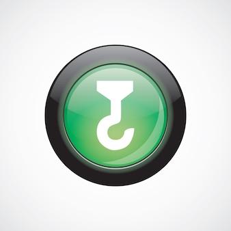 Gebouw kraan glas teken pictogram groene glanzende knop. ui website knop