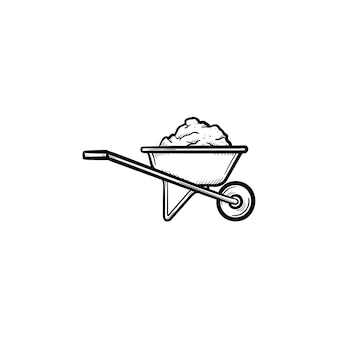 Gebouw kruiwagen vol zand hand getrokken schets doodle pictogram. kruiwagen vol zand schets vectorillustratie voor print, web, mobiel en infographics geïsoleerd op een witte achtergrond. bouwconcept.