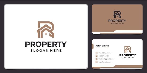 Gebouw letter r monoline luxe logo-ontwerp en visitekaartje
